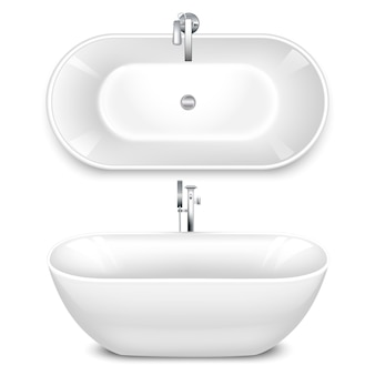 A set of bathtub in the shape of a bowl. top and side view.