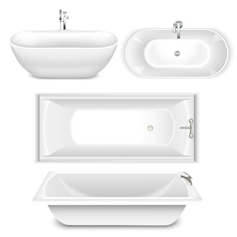 Set of bathtubs top and side view