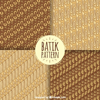 Set of batik patterns in brown tones