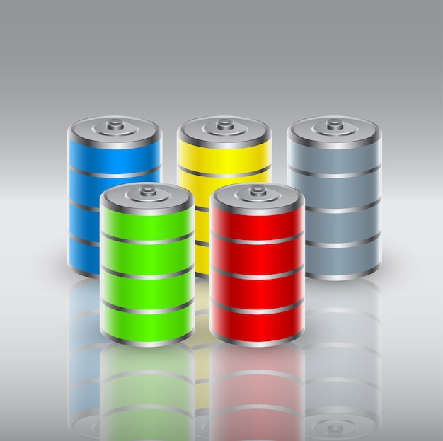 Set of batteries charged with renewable energy