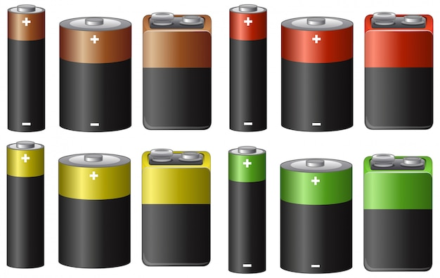 Set of batteries in many sizes and color