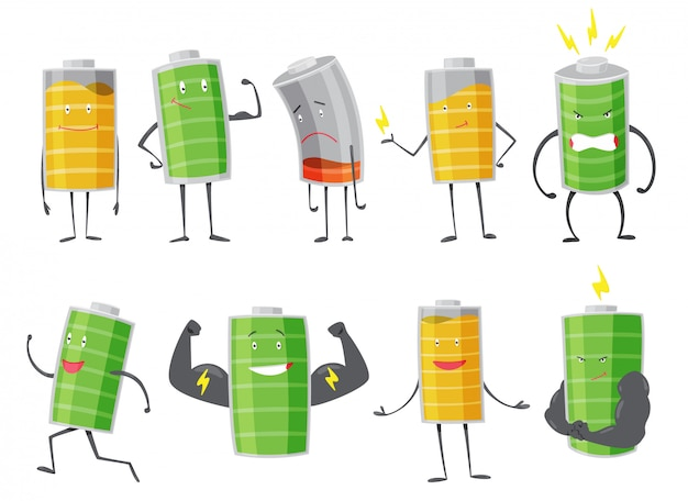 Set of battery man standing, smile, sad or running. full charged green battery. low yellow and red indication. element of alternative energy.   cartoon icon