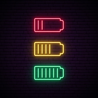 Set of battery neon.