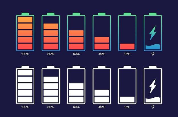 다른 충전 수준으로 배터리를 설정하십시오. 배터리 표시기, 배터리 충전 표시. 무선 충전 에너지 표시. 프리미엄 벡터