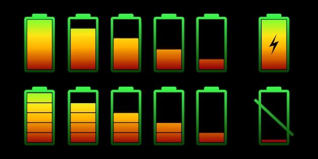 다른 충전 수준으로 배터리를 설정하십시오. 배터리 전원의 컬러 컬렉션. 무선 충전 에너지 표시. 그래픽 디자인.