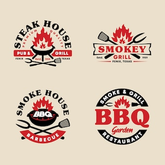 Set of bbq badge emblem logo template collection