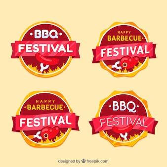 Set of bbq badges in flat design