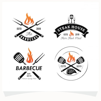 Set of bbq steak grill house logo