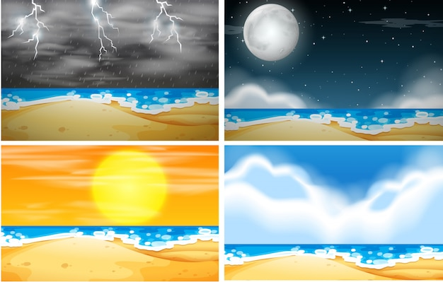 Set of beach background with different weather