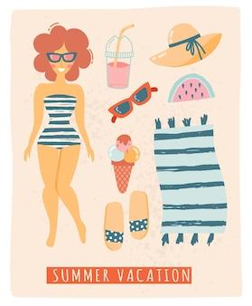 Set of beach cute elements swimsuit hat sunscreen flip flops sun glasses