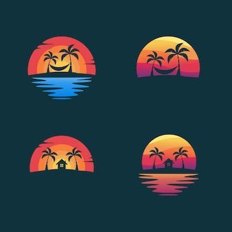 Установите пляж дизайн векторные иллюстрации