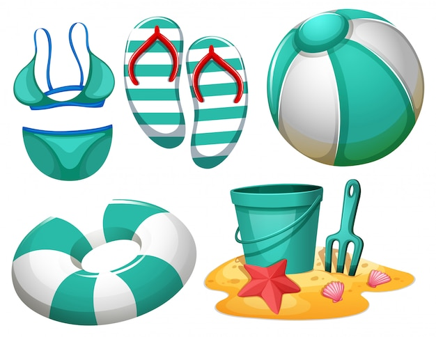 Set of beach element