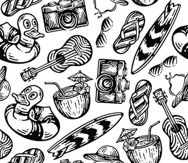 Set of beach equipment element in vintage doodle style