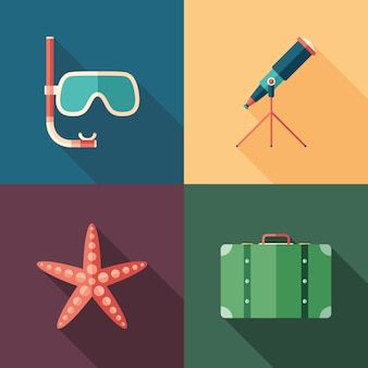 Set of beach flat square icons