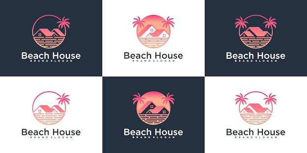 Set of beach house logo design collection with unique palm logo design premium vecto