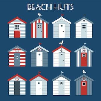 Set of beach huts.