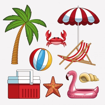 Set of beach icons collection