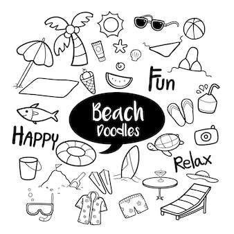 Set of beach objects in hand drawn doodles