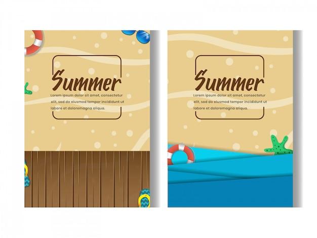 Set of beach party summer flyer design template