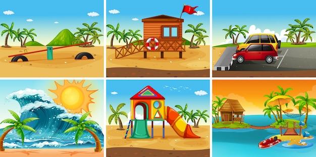 Set of beach scene