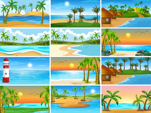 Set of beach scenes background