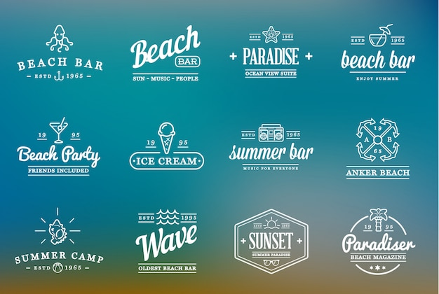 Set of beach sea bar logo