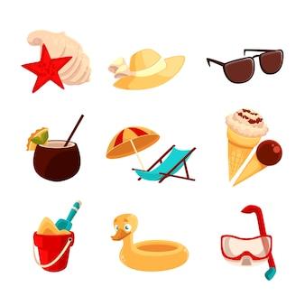 Set beach vacation objects