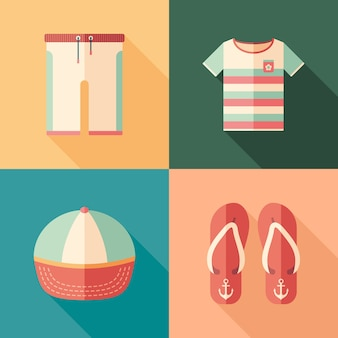 Set of beachwear flat square icons with long shadows.
