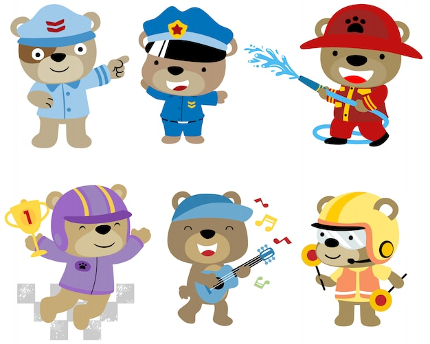 Set of bear cartoon