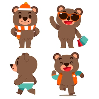 Set of bear characters