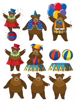 A set of bear circus character