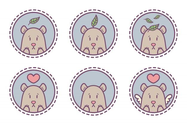 Set of bear emblem collection
