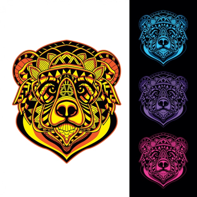 Set bear from decorative pattern glow in the dark