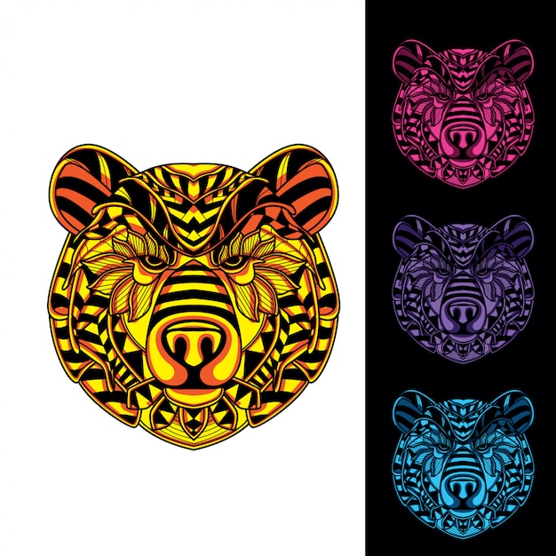 Set of bear head from decorative pattern glow in the dark