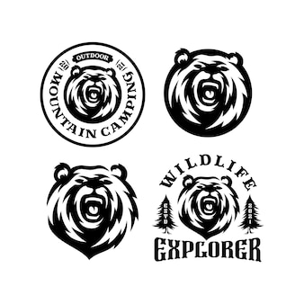 Set of bear logo emblem. outdoor adventure expedition, bear head and forest.