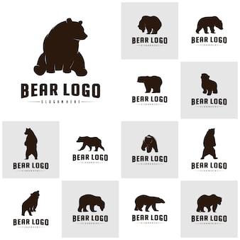 Set of bear logo icon designs vector. bears logo concepts