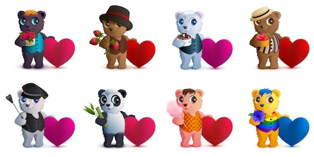 Set bear and valentine heart shape symbol of love.