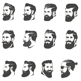 Set of the bearded man head  on white background. images for , label, emblem.  illustration.
