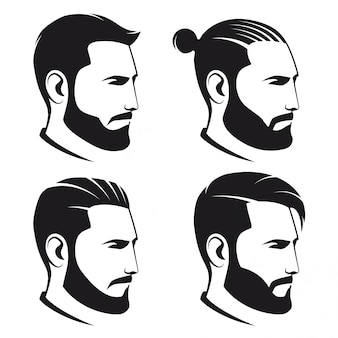 Set of bearded men hipsters isolated