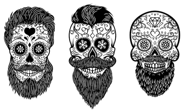 Set of bearded mexican sugar skulls with pattern. day of the dead.