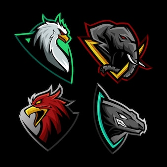 Set of beast mascot illustration