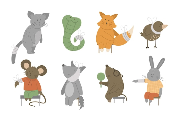 Set of beautiful animals with different illnesses