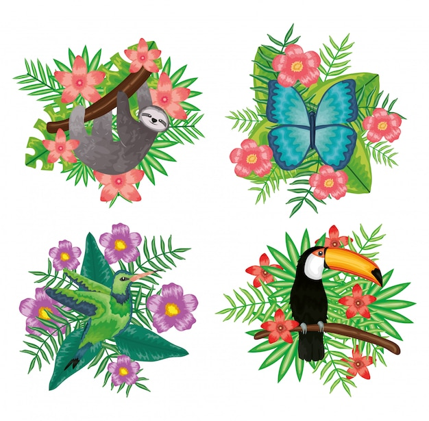 Set of beautiful animals with tropical floral decorations