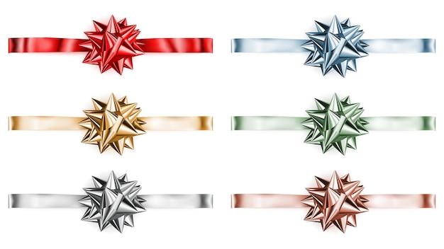 Set of beautiful big shiny bows with horizontal ribbons with shadows