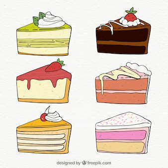 Set of beautiful birthday cakes