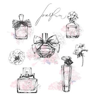 A set of beautiful bottles of perfume womens perfumetemplate vector