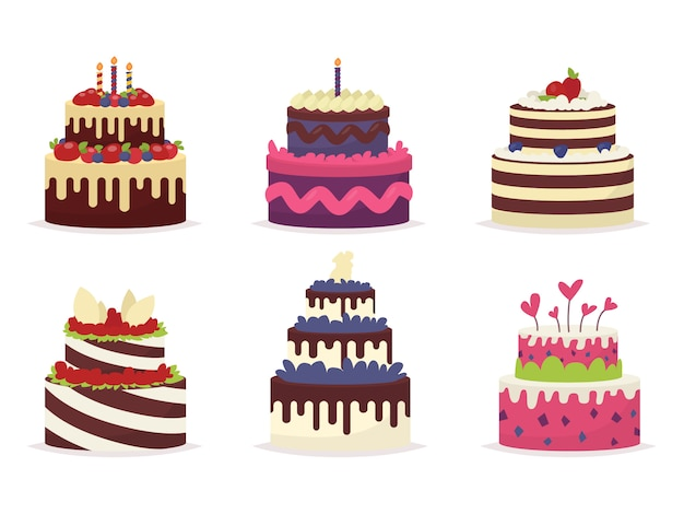 Set of beautiful cakes for birthdays, weddings, anniversaries and other celebrations.  illustration of a