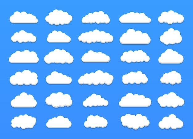 Set of beautiful cartoon clouds