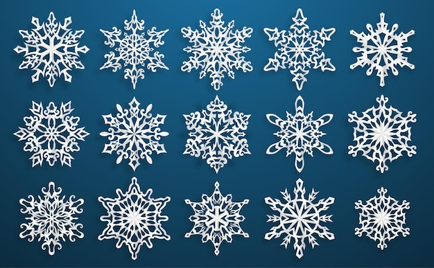 Set of beautiful complex paper christmas snowflakes with soft shadows on blue