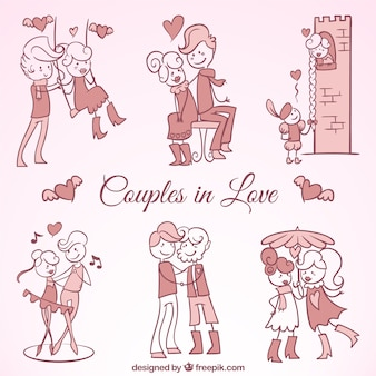 Set of beautiful couples in love